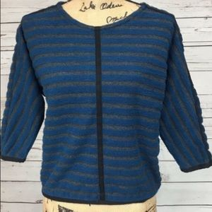 Madewell striped zip up back pullover sweater XS